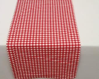 Table Runner, Red and White Check, Wedding, Shower, Party, Home Decor, Country, Cowboy, Cowgirl, Barn, Picnic, Custom Sizes Available