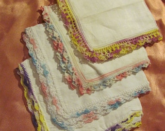 Hankies - Lot of 4 Beautiful Assorted White Vintage Handkerchief Crochet Edges
