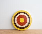 Target Circle Art Block - Yellow/Brown/White/Red - bull's eye, vintage look, colorway #6