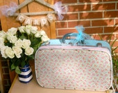 suitcase retro banner CARDS travel suitcase Blue flower floral Retro Luggage outdoor wedding