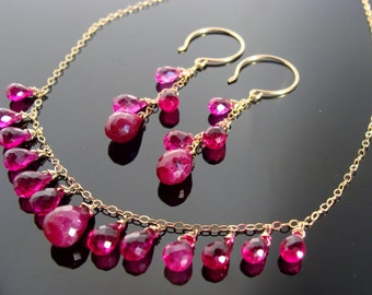 Ruby and Rubellite 14k Gold Filled Gemstone Necklace and Earrings Set