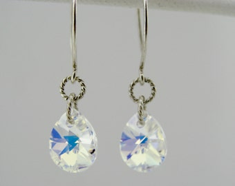 Swarovski Crystal AB Drop Sterling Silver Leverback Earrings