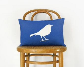 Personalized Decorative Bird Applique Pillow Case | Woodland Nature Cushion Cover | Pick your Vinyl Color and Fabric, 12x18 or 16x16 inch