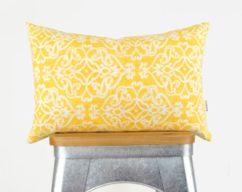 Yellow, White & Beige Outdoor Pillow Case | Colorful Patio Decor, Garden Decorations | Damask 12x18 Decorative Cushion Cover | Spring Accent