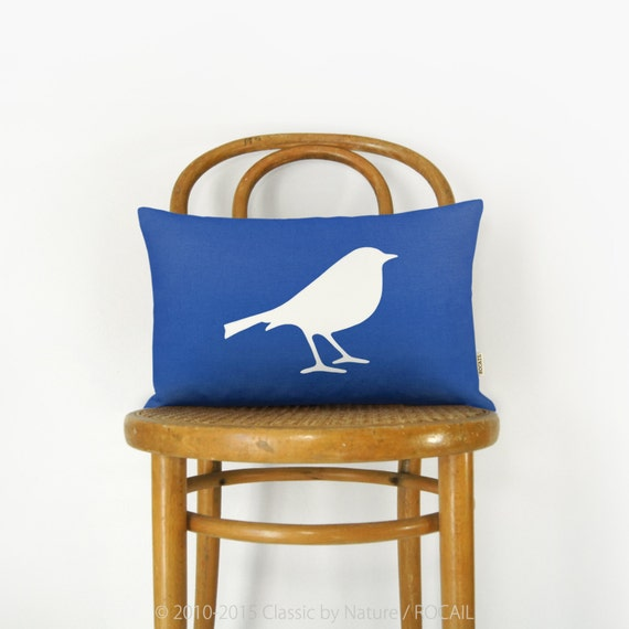 Bird pillow case, Woodland animal | Personalized applique cushion cover | Pick your color & fabric | 12x18 or 16x16 inches decorative pillow