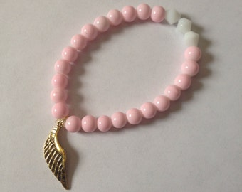 Soft Pink and White Bracelet with Golden Wing Charm