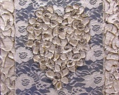 Heart over Stretched See-Through Lace with Pearl Finish... 13x17 Modern Flowers