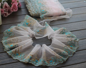 2 Yards Lace Trim Cyan Flower Embroidered Tulle Lace Trim 4.33 Inches Wide High Quality