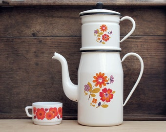Mid century mordern Enamel Coffee Pot,white enamelware coffee pot,enamel flowers, scandinavian flowers