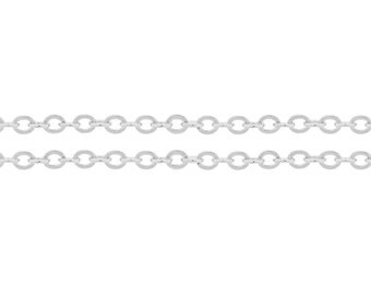 Sterling Silver 2.7x2.2mm Flat Cable Chain Strong and Heavy  - 5ft (6584-5) Strong and Shiny Made in USA 10% discounted  wholesale quantity