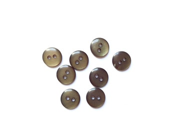 8 Green Olive Tiny Flat Buttons, 10mm