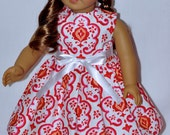 Handmade White Dress Red Flower Print Hat and Removable Ribbon Fits American Girl Doll