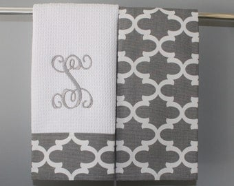 Monogrammed Kitchen Towels or Hand Towels in Grey Quatrefoil | Housewarming Gift | Hostess Gift | Gifts for Her