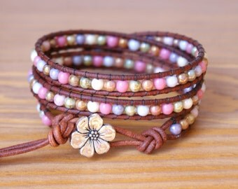 Bohemian wrap bracelet, Genuine Leather, triple, silver flower, pink, green, purple, brown, cream, romantic, gift idea, hipster, SALE