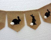 Easter bunny bunting, easter garland, burlap banner, bunny banner, easter decoration, bunny with fluffy tale