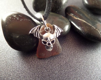 Winged Skull Men's Necklace with Brown Scottish Beach Glass, Sea Glass Jewelry, Gift for Man, Black Leather Cord Necklace, Skeleton Charm