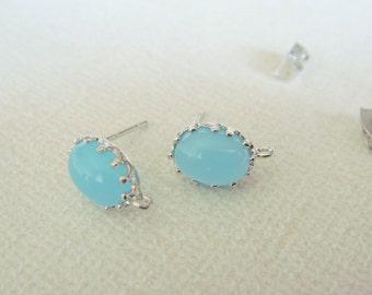 Mint opal silver Crystal oval stone Earrings, earrings Findings, light blue Studs, Posts, 2 pc, HY2674