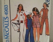 1976 McCalls 4983  Girls Jumpsuit With Iron OnTransfers Girl Size 14 Uncut
