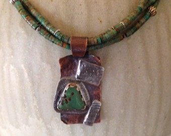 One of a Kind Turqouise &Sterling Multistrand Necklace