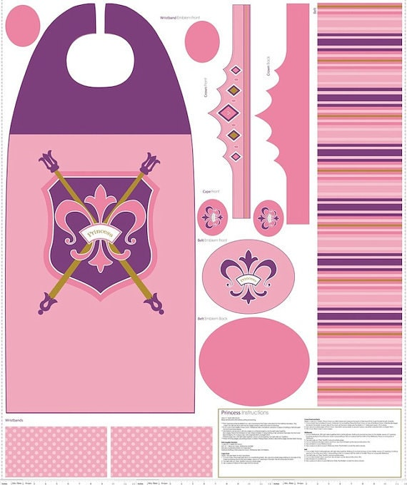 Pink and Purple Princess Cape and Crown Fabric - Riley Blake - 1 panel