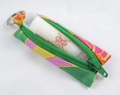 Lip Balm Holder with Zipper - Green, Orange, Yellow and Hot Pink Floral