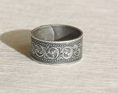 Antique silver adjustable wide band ring, vintage style embossed floral engraved simple everyday jewelry birthday gift gifts