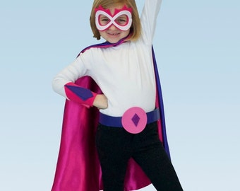 Personalized Satin Superhero Cape - Ultimate Personalized Set for ages 8 to 99 years olds, (cape, hero belt, eye mask, and wrist cuffs)