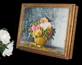 Vintage Flower Print Golden Wood Keepsake, Trinket, Jewelry or Sewing Box With Inside Mirror and Sections 14 x 12 x 3: