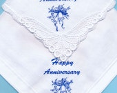 50% DISCOUNT - Happy Anniversary Ladies Guipure Lace and Gents Quality Cotton Handkerchief -  each with Wedding Bell HAND Screen Print