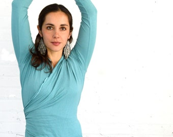 Small Turquoise Longsleeve Wrap Shirt Yoga Layer