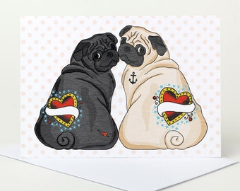 Pug Wedding Card - personalise with names (pug engagment card, pug anniversary card, custom wedding card, pug love)