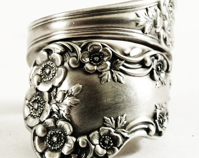 Buttercup Flower Ring, Sterling Silver Spoon Ring, Chunky Flower Ring, Antique Gorham Buttercup, Gift for Her (6506)