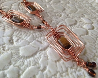 Copper Wire Wrapped Brown Rectangle Stone Necklace / Statement Piece / Gemstone Jewelry / Copper Wire Jewelry / Gift For Her