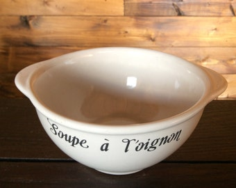 Vintage French Soup à L'oignon onion soup white bowl dish circa 1960s / English Shop