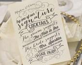 Printable Wedding Menu Card - Signature Drinks