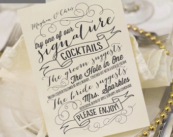 Printable Wedding Menu Card - Signature Drinks