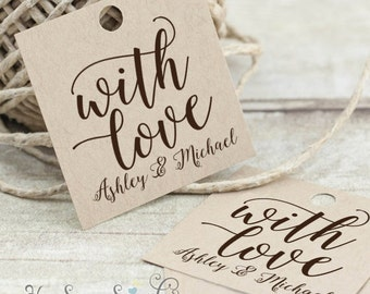 With Love - Personalized Printable Favor Tags - hand calligraphy - 2x2