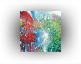 Abstract Painting Original Palette Knife Red Green Wall Decor Modern Art - 36x36 - Skye Taylor