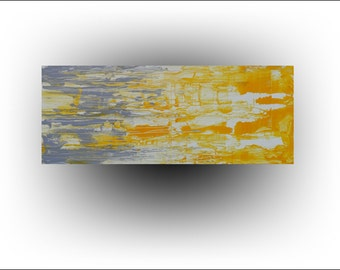 Yellow and Gray Abstract Painting- 12 x 30 - Skye Taylor