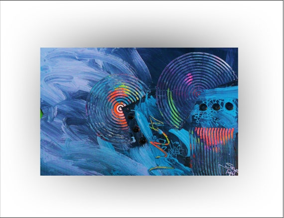 Abstract Blue Original Painting - 24 x 36 - Skye Taylor