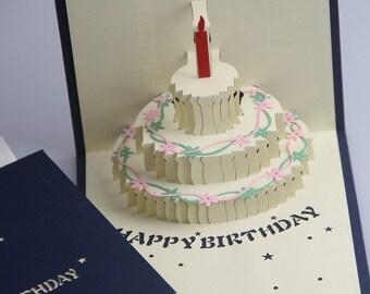 3D  Pop Up Birthday Card - Birthday Card - Pop Up Card - Birthday Cake (02/03)