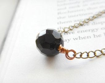 Dark Onyx Orb Brass Long Necklace w/ Copper Accents / Simple Long Modern Statement Necklace, Metallic Minimalist Dark Contrast