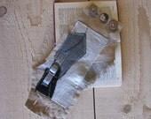 patchwork wrist cuff - neutral textile wrist cuff - shabby tattered linen wrist cuff - feminine bracelet - tattered cuff - gift for her
