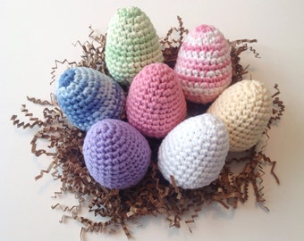 Eco Spring Easter Eggs - Crocheted Cotton Pick Your Own Set of **6**