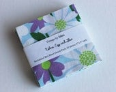 "Purple and Blue Vintage Sheet Fabric Charm Pack - 42 pieces, 5"" x 5"". ""Robins Egg and Lilac"" theme."