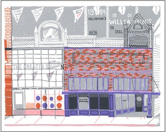 Screenprint of Prichard Art Gallery / Shields Building South on Main Street in Moscow, ID