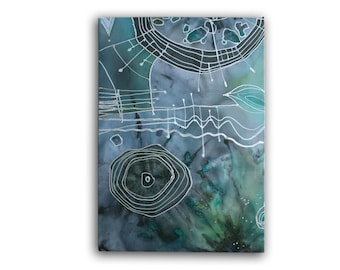 Fiber art,  batik, wall pannel, silk painting, abstract painting, chiffon, wall hanging, room decor, modern art, turquoise, cyan, blue green
