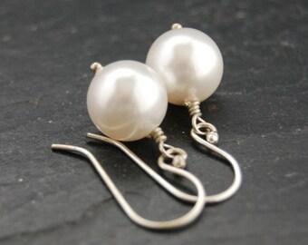 Earrings, Swarovski Pearl, Silver, Bridal, Wedding Jewelry, LoveandCherish