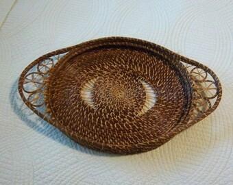 Vintage Pine Needle Woven Basket