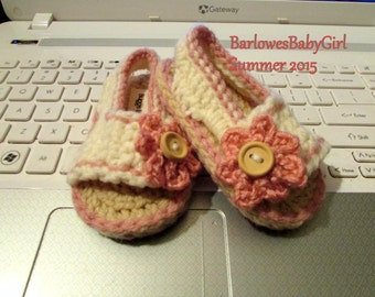 NEW - Buggs - Crochet Girl's Side Button Closure w/ Flower Accent Sandal in Soft Pink and Ivory - Customize Your Color